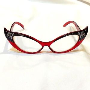 Cat's eye glasses rhinestone reddish & black